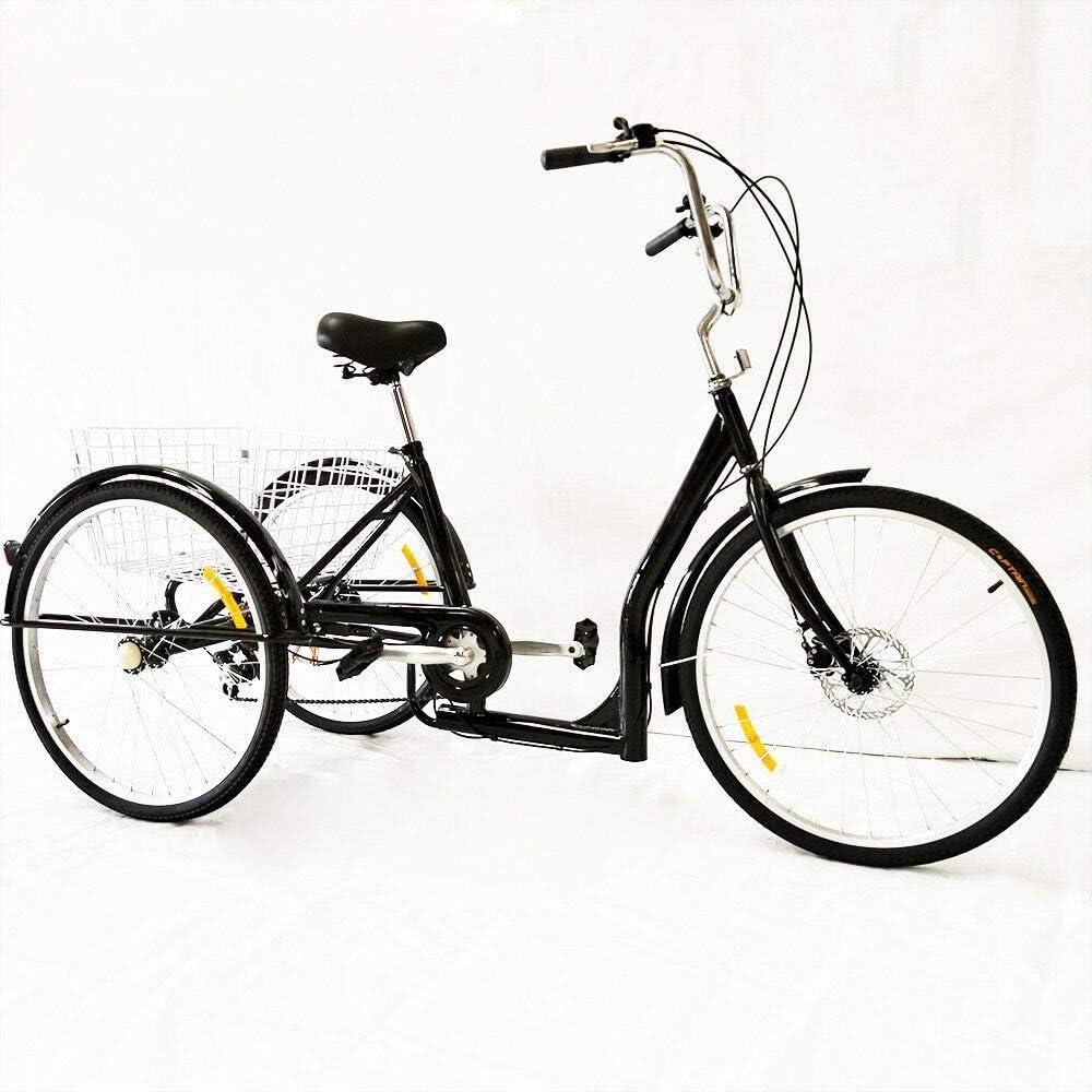Triciclo de 26 pulgadas para adultos con cesta, 6 velocidades y 3 ruedas, bicicleta para adultos, triciclo para compras, viaje (negro)