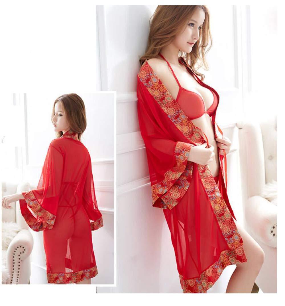 GPTOK Conjuntos de de de lencería Sensación femenina dentro de la ropa traje de pasión perspectiva uniforme, sujetador + ropa interior + vestido 709768