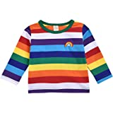 Toddler Kid Baby Boy Girl Top Long Sleeve Shirt Rainbow Blouses Tee Clothes Set