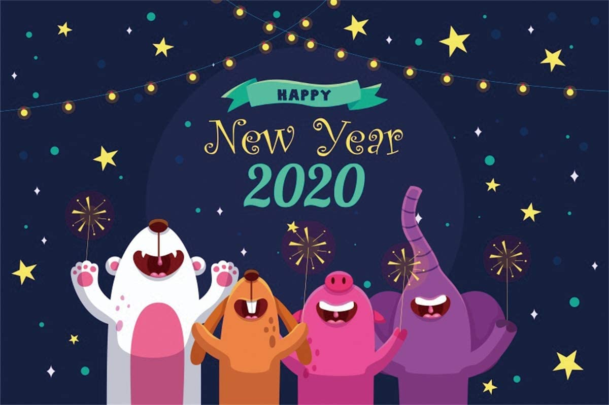 Yeele Cartoon 2020 Backdrop 10x8ft Kids New Year Party Photography Background Chinese Association Celebration 2020 Events Photo Booth Banner Photoshoot Holiday Picture Wallpaper