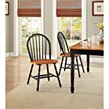 Better Homes and Gardens Comfy Solid Wood Autumn Lane Windsor Seating Dining Furniture Chairs Set of 2 - Black and Oak