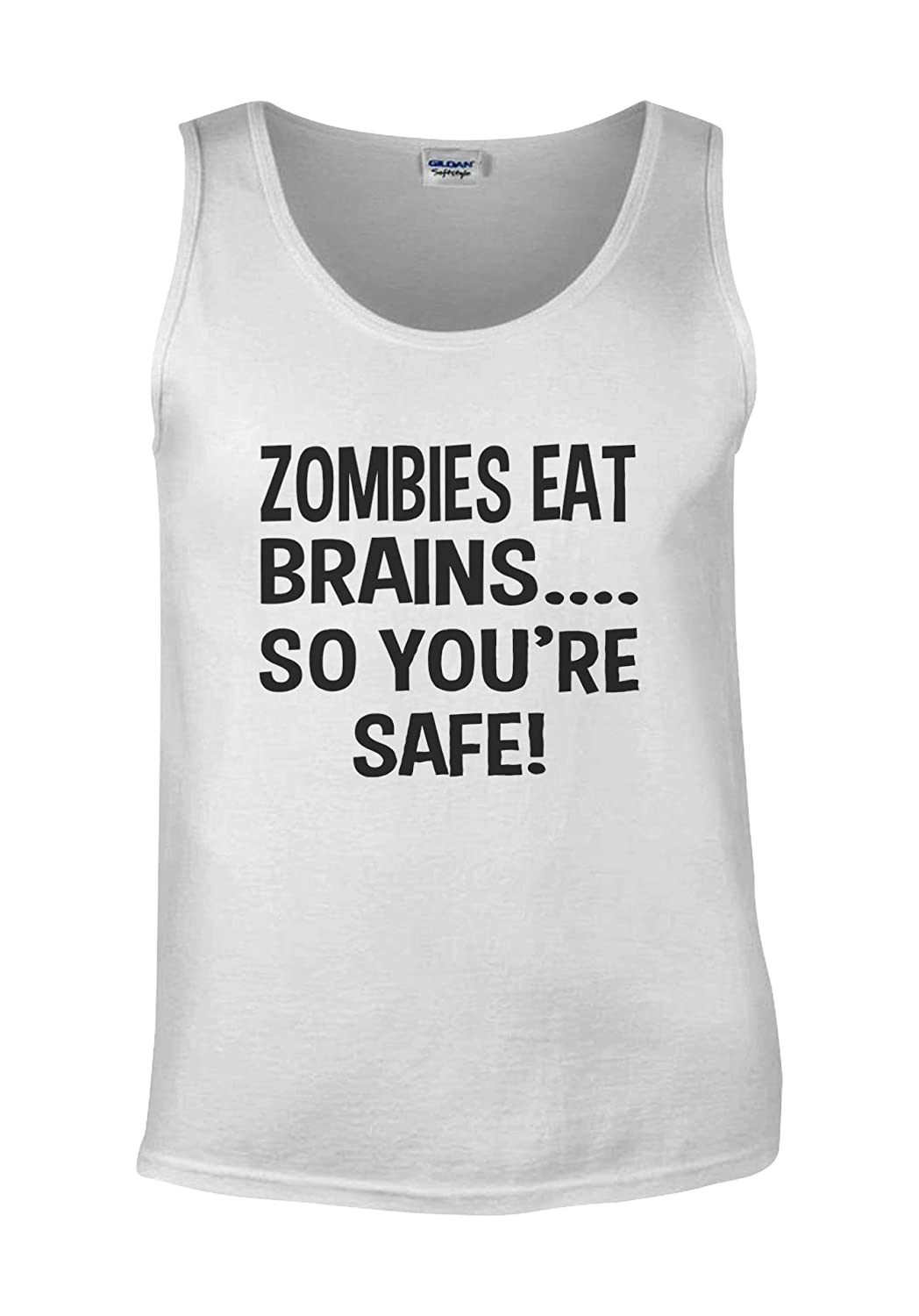 Zombies Eat Brains So You Are Safe Novelty Forest White Men Vest Tank Top
