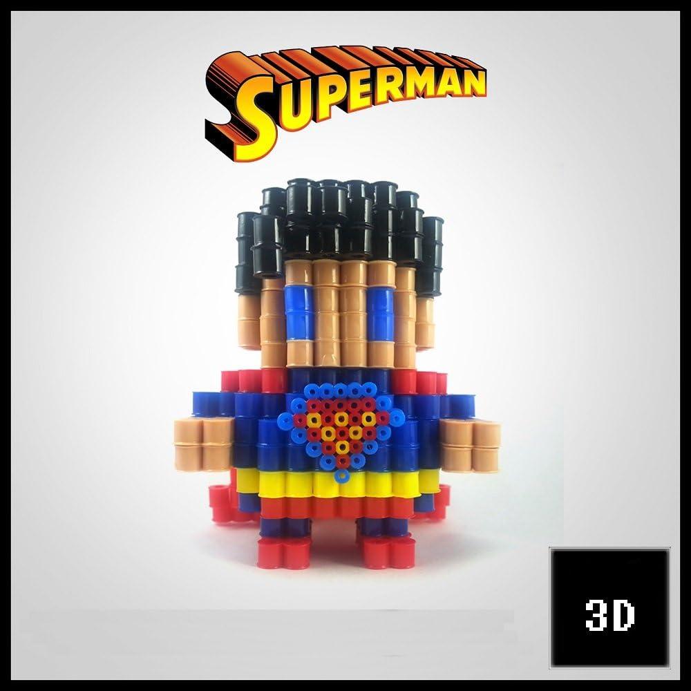Figuras 3D de Pixel Art hama hechas a mano modelo Superman: Amazon ...
