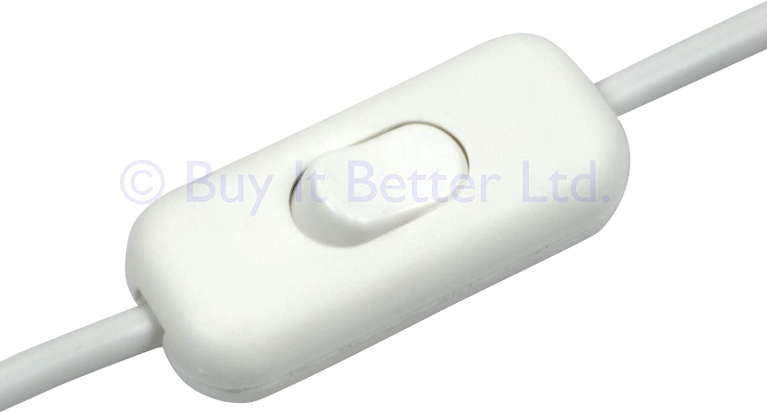 Inline tables lamp lead switch for 3 or 2 core wiring double pole all in white