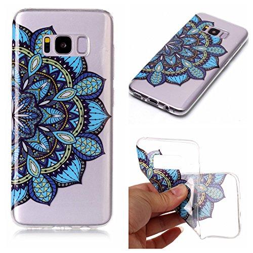 mokyo Samsung Galaxy S8Plus Funda Suave, transparente Gel TPU Funda de silicona con [libre Stylus Lápiz] antigolpes antiarañazos Teléfono de buzón Super fina goma Rubber Carcasa Transparente jalea pi azul flores