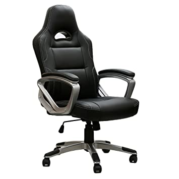 Gaming Stuhl Chair, IWMH Hoch Rücken Ergonomischer PU Leder Bürostuhl  Racing Sportsitz Gaming Drehstuhl Computer