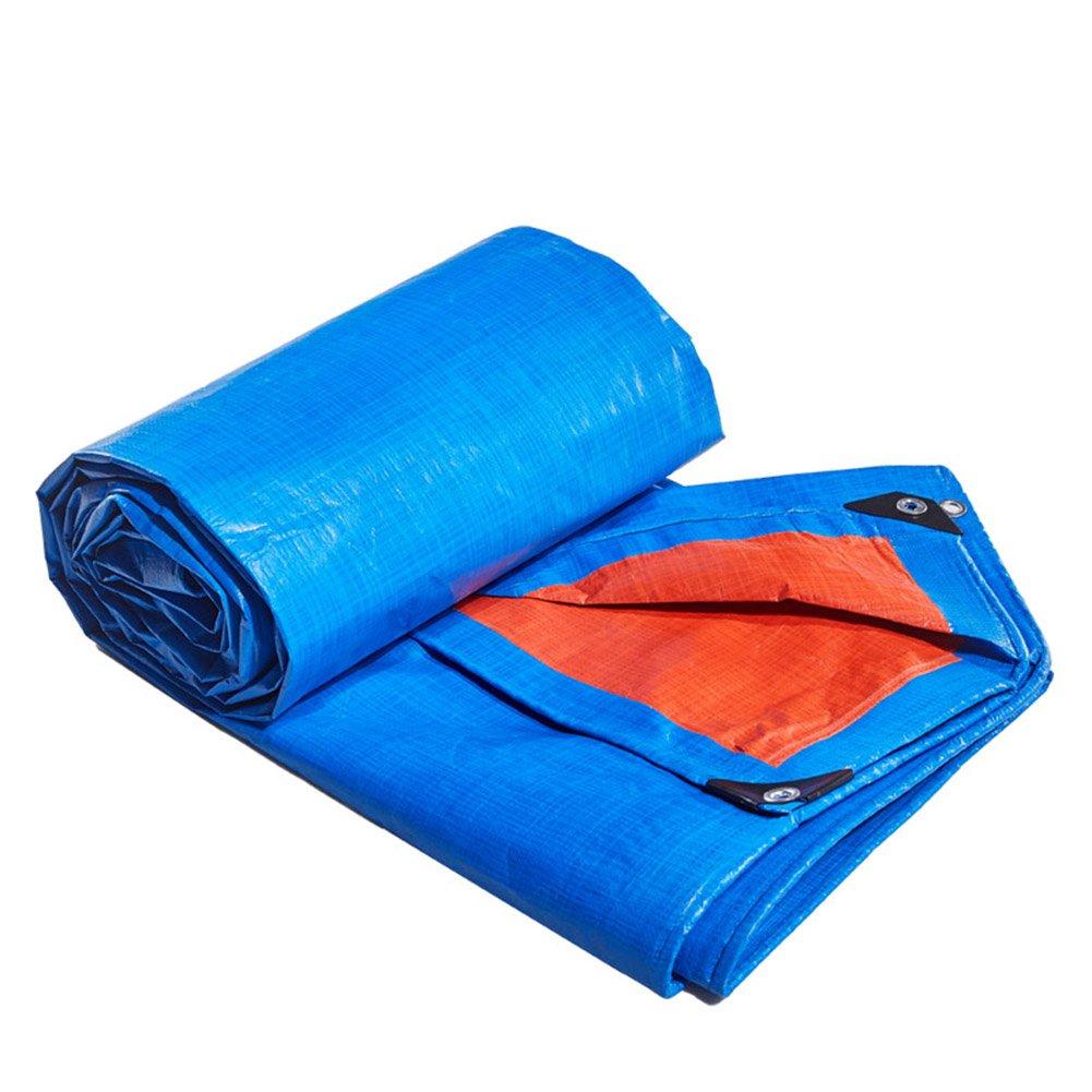 WKHQQ-BÂche extérieure BÂche horticole Prougeection des Plantes Prougeection Solaire Camion Hangar Tissu Anti-Corrosion Anti-oxydation, Bleu + Orange bÂche A 4 x 7m
