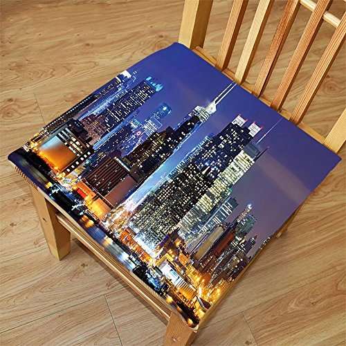 Nalahome Set of 2 Waterproof Cozy Seat Protector Cushion United States Manhattan View from Hudson River at Night Luminous Landscape Blue Violet Blue Apricot Printing Size - Night Download Sunglasses At