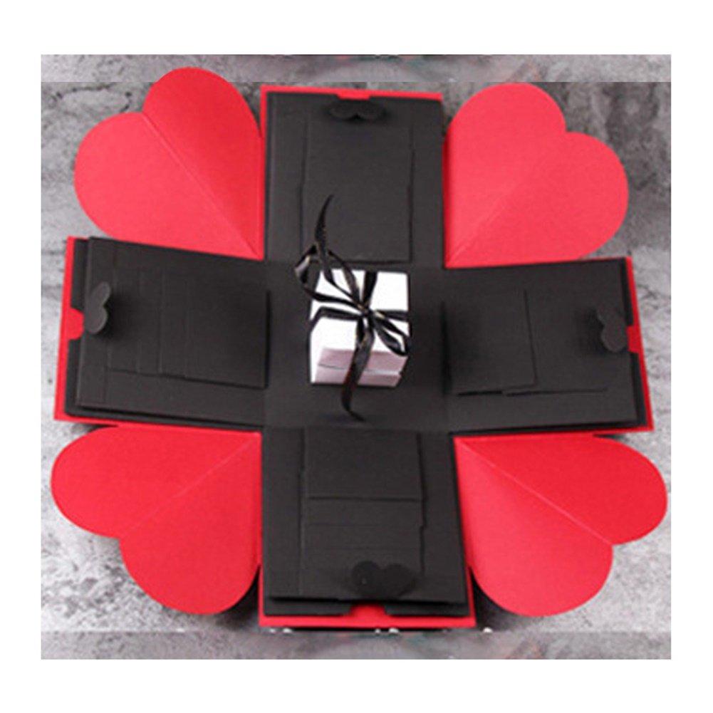 Ocamo Creative DIY Explosion Box Love Memory Photo Album as Birthday Anniversary Gifts Red + black