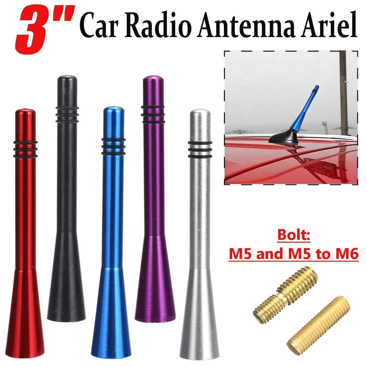 Gift-4Car Audio & Video Accessories 3 Car Antenna Ariel Stubby Bee Sting Mast Roof Arial FM Radio Aluminum Alloy 80mmx13mm Car Styling
