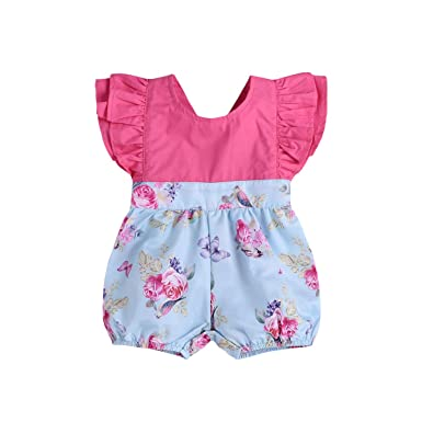 5c9a039f08b Newborn Infant Baby Girl Romper Floral Ruffle Jumpsuit Halter Shorts  Outfits (6-12 Months