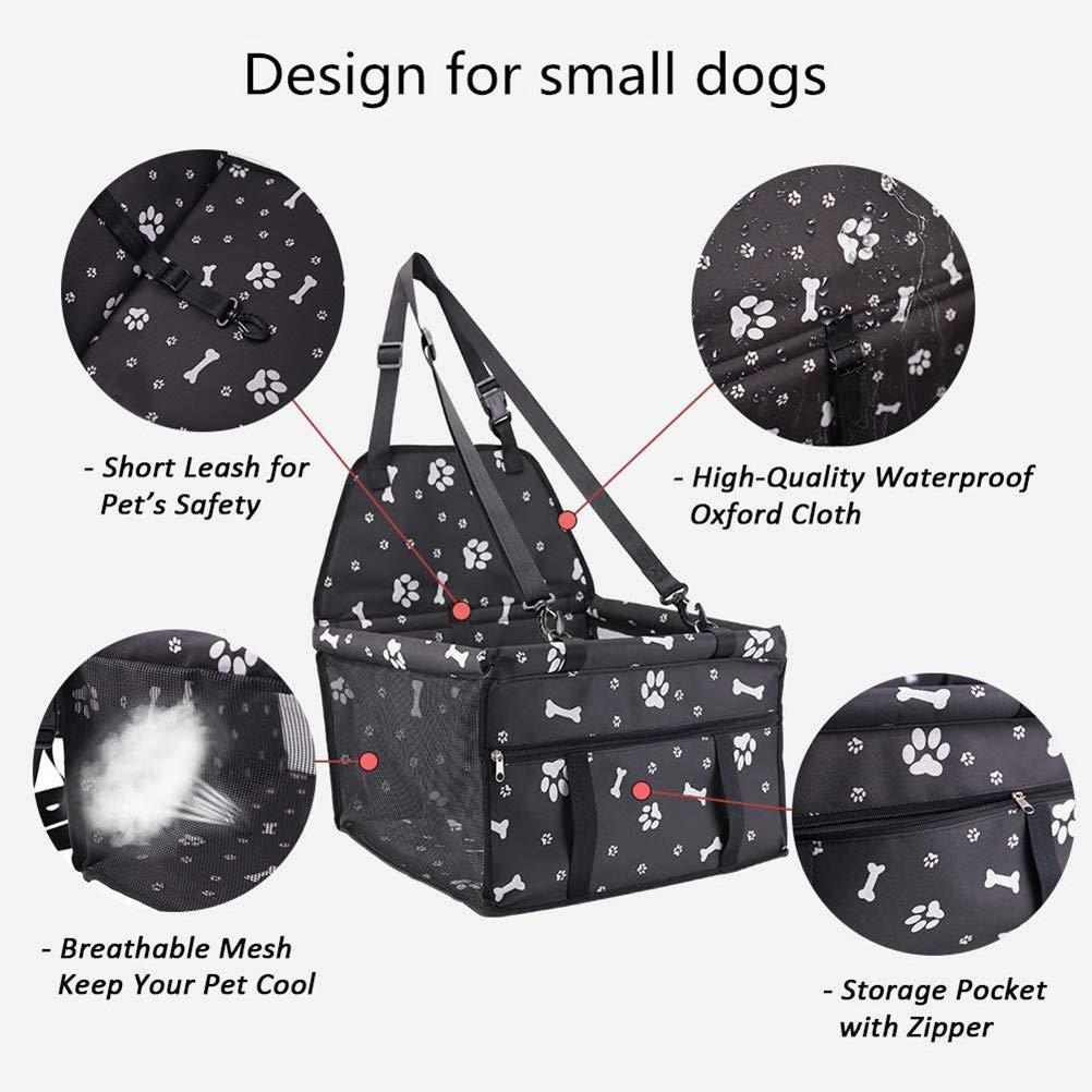 Bolsa de Transporte para Mascotas Asiento del Coche de Seguridad para Perro y Gato Funda Protector de Coche Plegable para Mascota con Cintur/ón de Seguridad Para cachorros y gatos