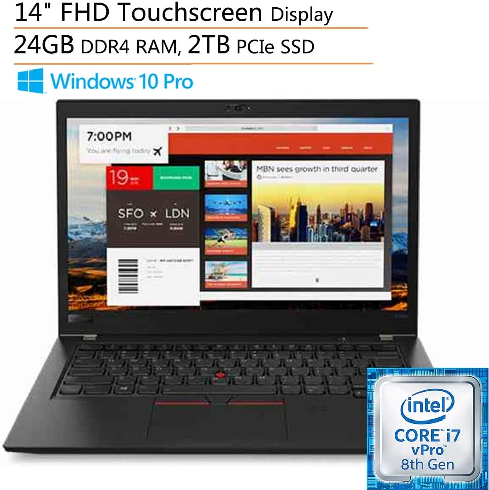 """Lenovo ThinkPad T480s 14"""" FHD Touchscreen Business Ultrabook Laptop Computer, Intel Quad-Core i7-8650U up to 4.2GHz, 24GB DDR4 RAM, 2TB PCIe SSD, Fingerprint Reader, Windows 10 Pro, iPuzzle Mouse Pad"""