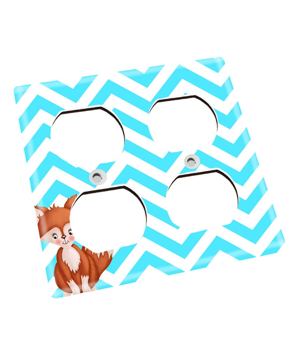 Fox Zig Zag Kids Nursery Bedroom Light Switch Cover LS0099 (Double Outlet) by Toad and Lily