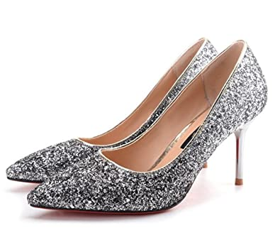 ad59a6031ab Women s Sexy Glitter Gradient Color Sequins Club Shoes Pointed Toe Stiletto High  Heel Pumps(Silver