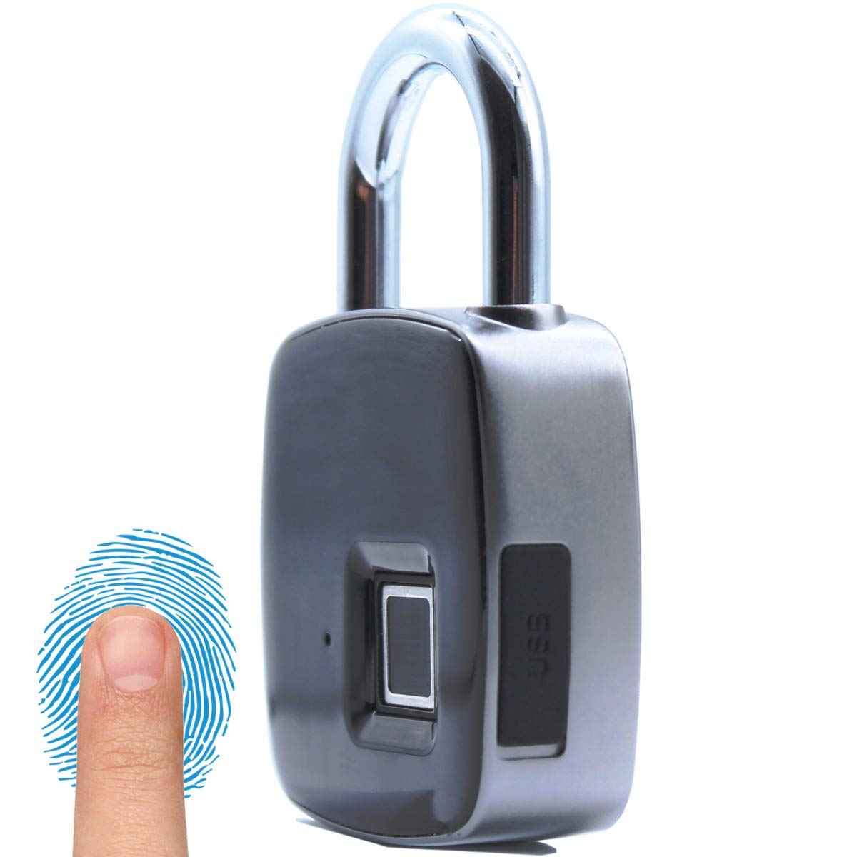 Dontz Smart Fingerprint Padlock, Portable Waterproof Travel Locks Without Key, Metal Structure Without Bluetooth, Support 10 Groups Fingerprint I.D, Backpack, Bike, Luggage, Gym Cabinet- USB Charging