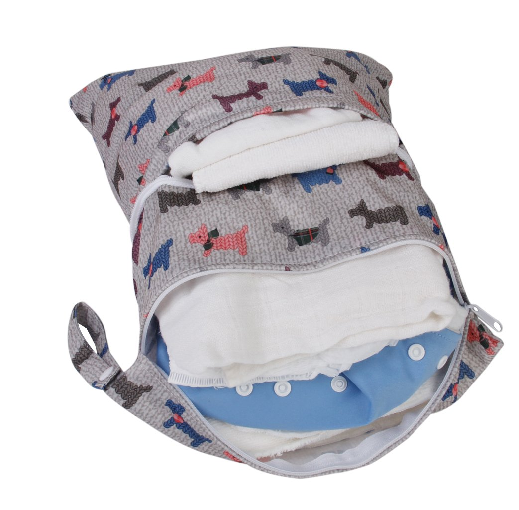 1-Zip Washable Baby Cloth Diaper Nappy Bag Elephant Pattern Wet Dry Waterproof Reusable Portable Cloth Diapers Wet Bag Zippered Pockets Carrying Storage Travel Bag Organizer for Baby Infants
