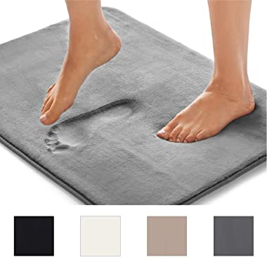 GORILLA GRIP Original Thick Memory Foam Bath Rug (24x17) Cushioned Extra Soft Floor Rug Mats, Absorbent Bathroom Mat Rugs, Machine Wash + Dry, Luxury Plush Comfortable Carpet Bath Room (Dark Gray)