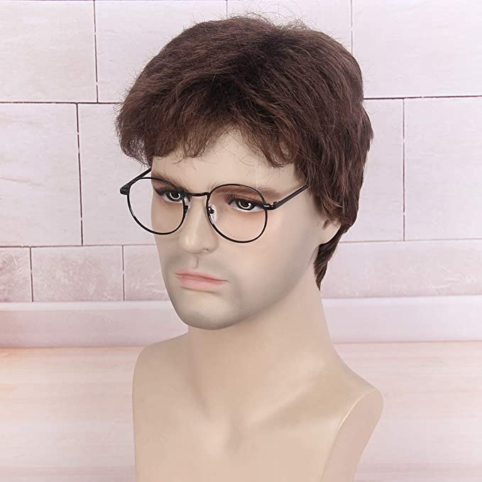 stfantasy Hombres peluca Harry Potter Cosplay Wig Real Natural marrón corto derecha tumbado como para Halloween Carnaval Party Everyday: Amazon.es: Belleza