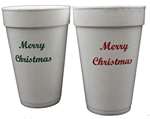 """Pantryware Essentials 16 oz White Foam Cups with""""Merry Christmas"""" Custom Print in red and Green, Disposable Foam Drink Cups for Hot/Cold (Pack of 12 red Print and 12 Green Print)"""