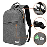 KINGSLONG Backpack for Men and Women, 15.6 Inches Laptops Waterproof Shockproof School Bag to Travel Business Work Daypack Shopping Backpack (Grey) Review