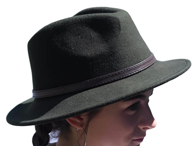 d487ff231c7012 Image Unavailable. Image not available for. Colour: Thorness Olive Green Wide  Brim 100% Wool Felt Fedora Trilby hat - X Large
