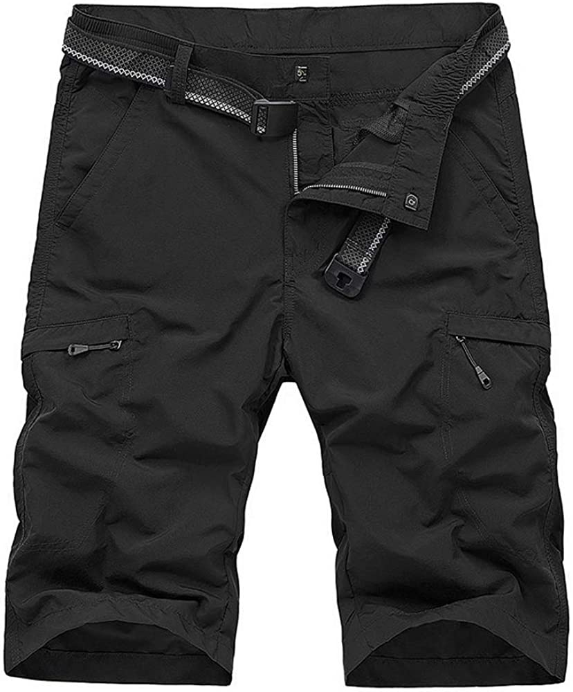 OCHENTA Men's Outdoor Expandable Waist Lightweight Quick Dry Shorts for Hiking Camping