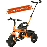R for Rabbit Tiny Toes Grand Smart Plug and Play Stylish Baby Tricycle Trike Cycle for Kids of 1.5 to 5 Years with Basket,Parentals Control & Rubber Wheels(Orange)