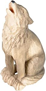 Howling Wolf Figurine Faux Wood Wolf Statue