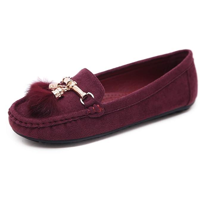 Morbuy Mujer Clásico Gamuza Mocasines, Zapatos Planos Loafers Zapatos del Barco Casual Zapatos de Conducción, Cómodo y Antideslizante 35-41: Amazon.es: Ropa ...