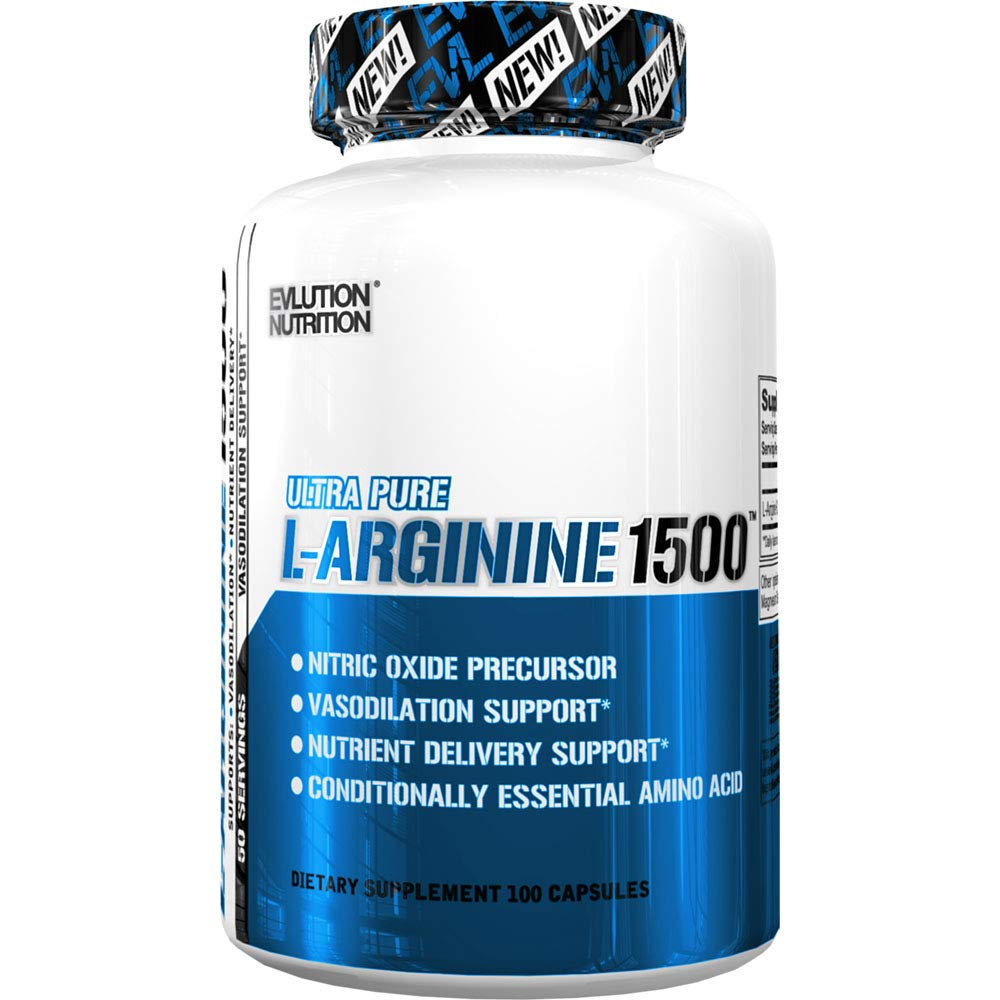Evlution Nutrition L-Arginine 1500 mg, Ultra-Pure Nitric Oxide Supplement, Muscle Growth and Vascularity, Energy and Stamina, Powerful NO Booster, Essential Amino Acids (100 Capsules) by Evlution