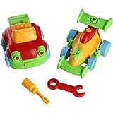Rompecabezas con Coches de Juguete y Dos Juegos de Destornilladores y Llaves,Juego de Construcción para Niños de +3 Años