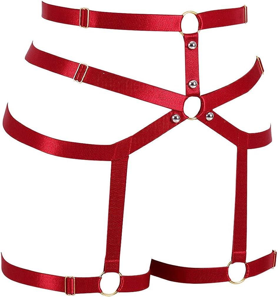 set elastico regolabile lingerie punk EDC Club Party Dance Festival Rave Costume PETMHS Imbracatura da donna per gambe reggicalze con cinturino in vita