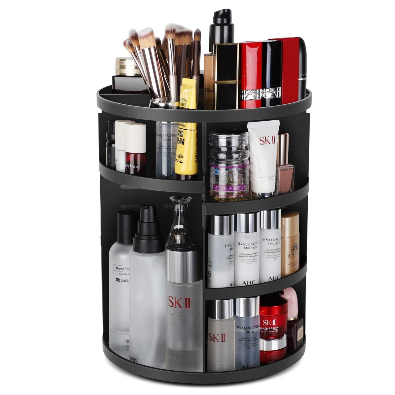 Syntus 360 Rotating Makeup Organizer, DIY Adjustable Bathroom Makeup Carousel Spinning Holder Rack, Large Capacity…
