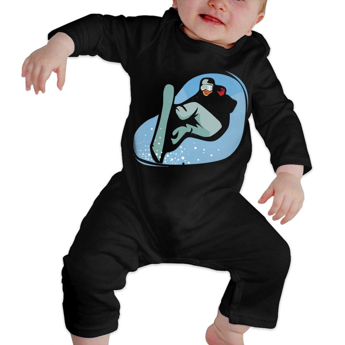 UGFGF-S3 Snowboarding Man Newborn Kids Long Sleeve Romper Jumpsuit Coverall