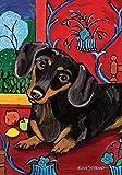 Toland Home Garden Muttisse Dachshund 12.5 x 18 Inch Decorative Puppy Dog Portrait Painting Design Garden Flag