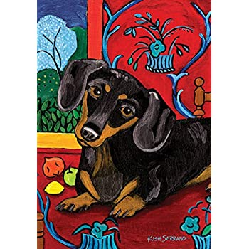 Toland Home Garden Muttisse Dachshund 12.5 X 18 Inch Decorative  USA Produced Garden Flag