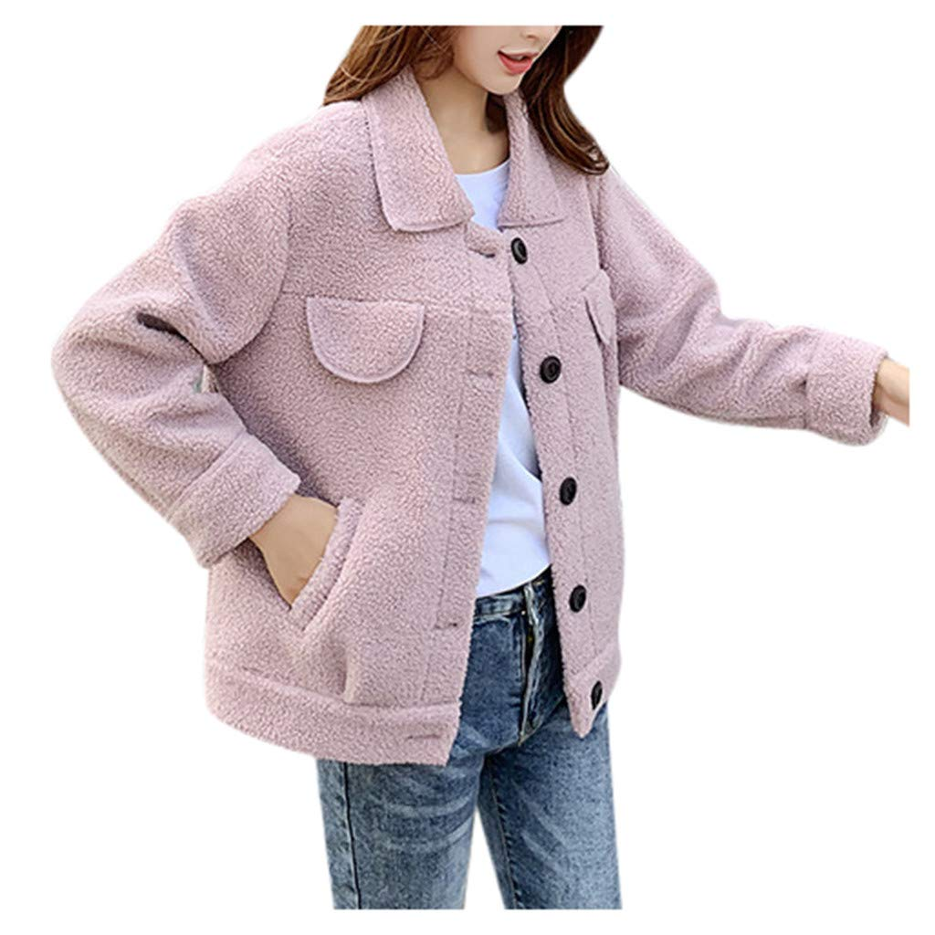 Yanvan Winter Women Warm Outwear Faux Fleece Coat Outwear Warm Lapel Biker Motor Jacket by Yanvan