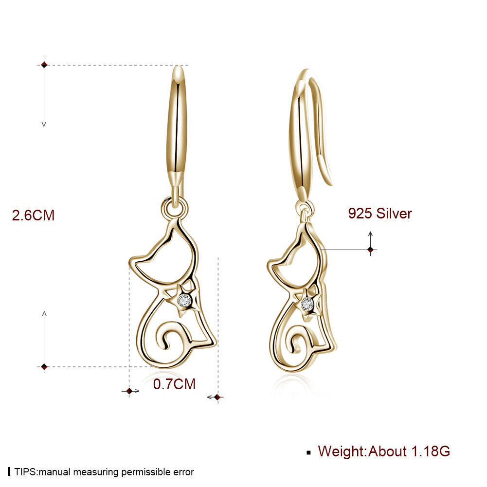5be3502ac Amazon.com: New Cat CZ Dangle Drop Earrings for Women Teen Girls Crystal  Cute Dangling Hypoallergenic (gold): Jewelry
