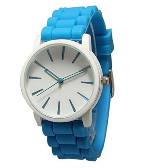 New Geneva Light Blue w/ White Silicone Watch