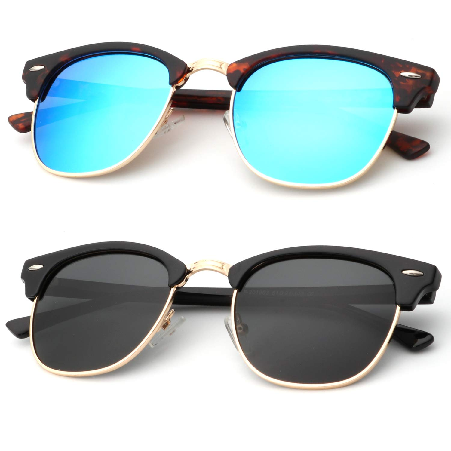 Unisex Polarized Sunglasses Stylish Sun Glasses for Men and Women Color Mirror Lens Multi Pack Options by KALIYADI