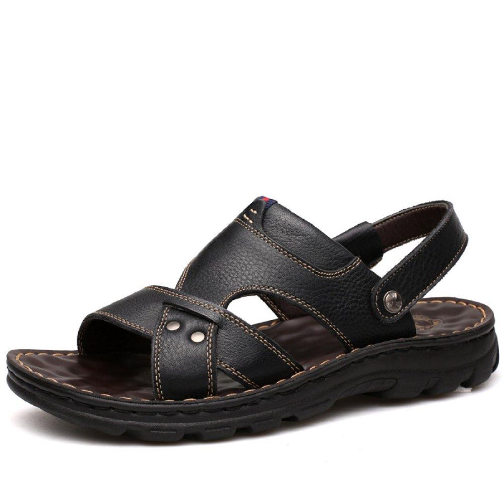 Sandalias para Hombres De Cuero Deportes Al Aire Libre Casual Sandalias Antideslizantes Usables Verano 41 EU|Black