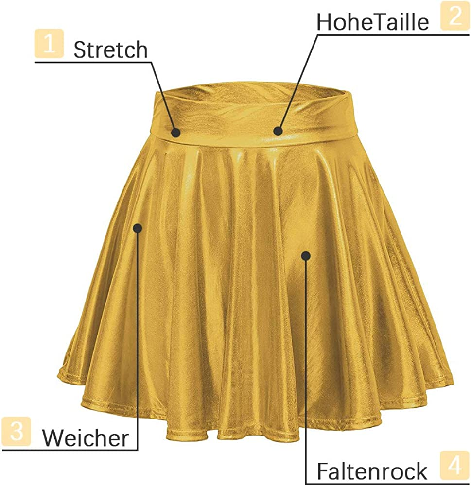 Damen Metallisch Faltenrock Midi Glitzer Glänzend eine Linie Hohe Taille