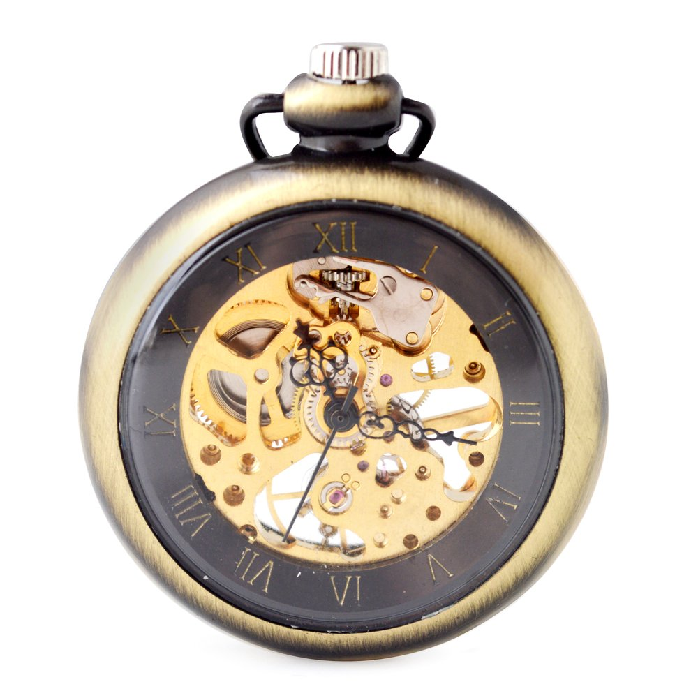 Steampunk Open Face Men Pocket Watch - BoShiYa Classic Skeleton Movement Rome Dial Self Automatic Mechanical Hand Wind-up Pocket Watches with Blet Chain Gronze