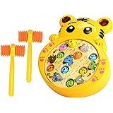 Jeu de la taupe,Foxom dessin animé mignon enfants électronique Whac-a-Mole jeu percussion jouet avec effet de musique et marteaux(tigre) (Jaune)