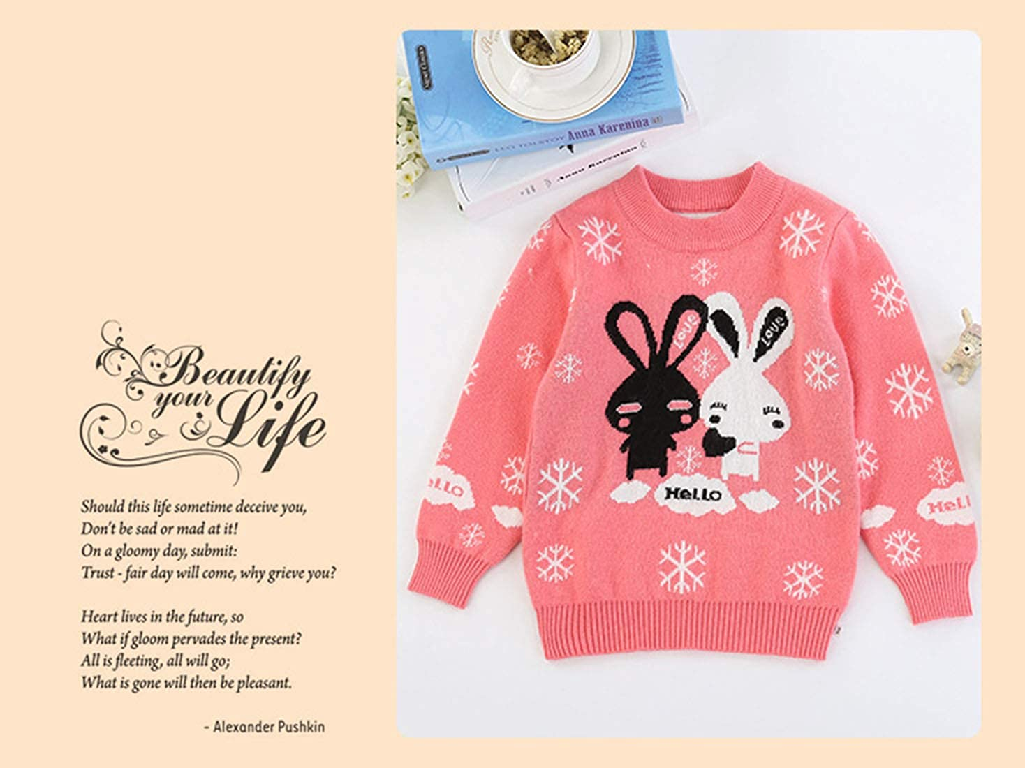 Euno Double Thickened Bunny Sweater