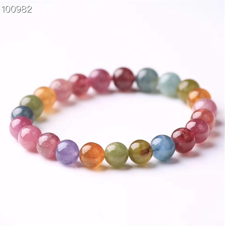 AMB-385 Splendid Multi Tourmaline Gemstone Beaded Bracelet ~ 7x10mm-8x11mm Smooth Tumble Beads ~ Multi Color Tourmaline Stretch bracelet