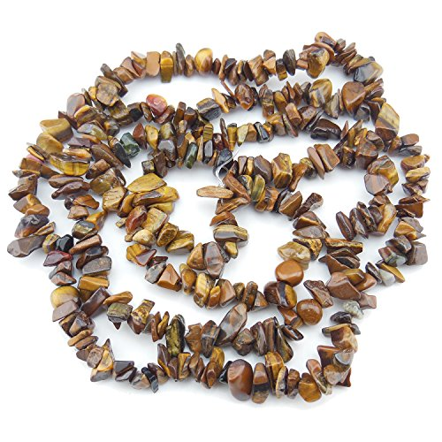 COIRIS 2 Strands 33'' 5-8MM Tiger Eye Chips Gemstone Loose Beads for Jewelry DIY or Making & Design (St-1018)