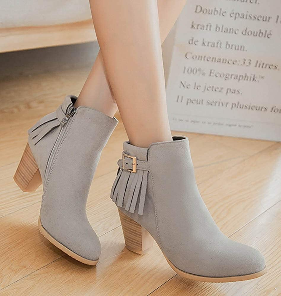 Unm Womens Tassels Buckle Strap Inside Zip Up Stacked High Heel Booties Round Toe Dress Ankle Boots with Zipper