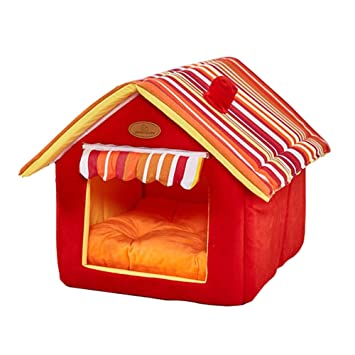 GetDoll Suave Interior Mascota casa Lavable Perro Cueva Cama extraíble cojín caseta Muebles portátil Plegable para Gatos Perros: Amazon.es: Productos para ...